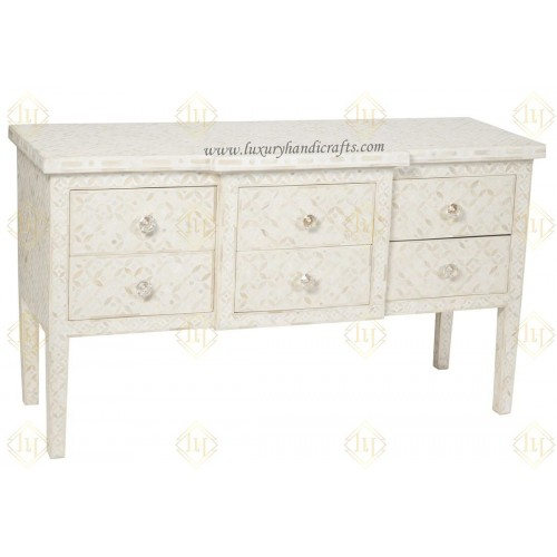 Bone Inlay 6 Drawer Console Table Geometric Design