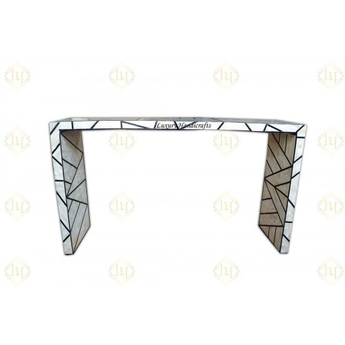 Bone Inlay Full Geometric Console Table Black