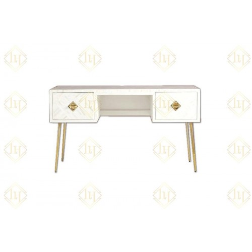 Chicago Bone Inlay 2 Drawer Desk White