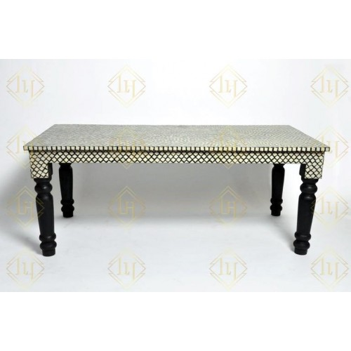 Bone Inlay Mehrab Dining Table Black