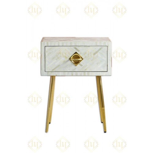 Chicago Bone Inlay 1 Drawer Bedside White