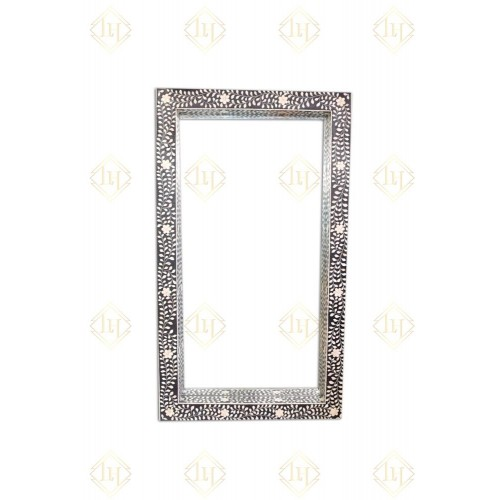 Black Bone Inlay Floral Floor Mirror
