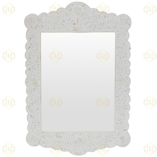 Bone Inlay Floral Scalloped Mirror White