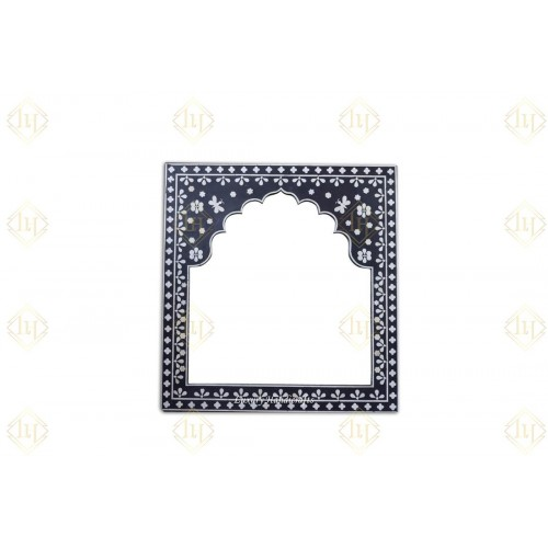 Bone Inlay Square Butterfly Mirror Black