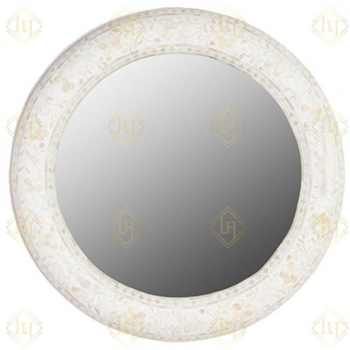 Floral Bone Inlay Round Mirror White
