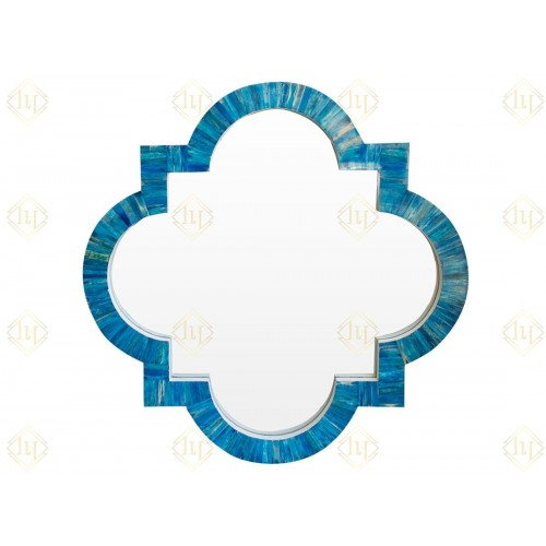 Quatrefoil Colored Bone Inlay Mirror Ocean Blue