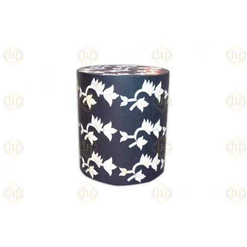 Black Bone Inlay Flower Stool