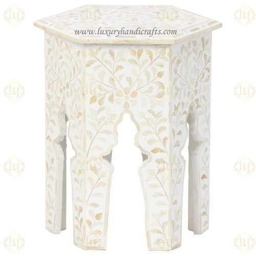 Bone Inlay Floral Design Hexagonal Table White