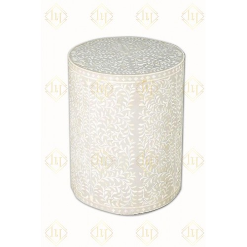 Bone Inlay Foliage Spiral Side Table Dove Grey