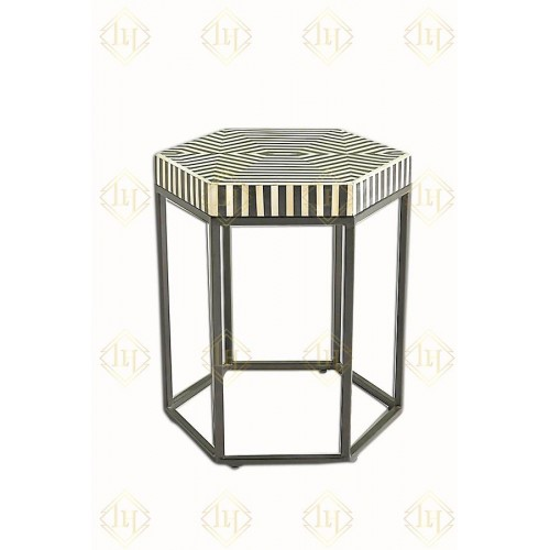 Bone Inlay Hexagonal Stripe Side Table With Iron Base Black