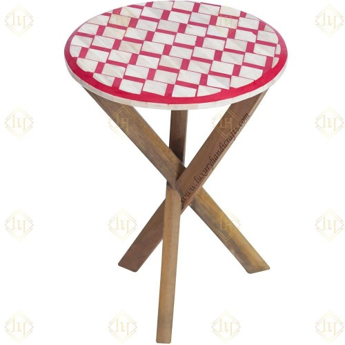 Bone Inlay Oak Side Table Square Red