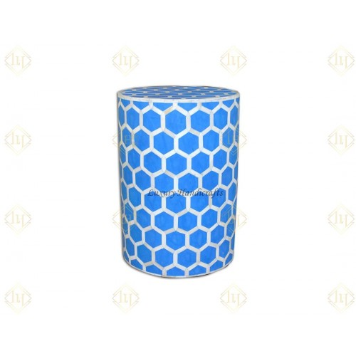Bone Inlay Round Stool Honeycomb Design Blue