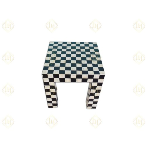 Bone Inlay Side Table Chessboard Design Black