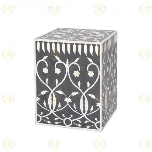 Bone Inlay Square Stool Bel Black