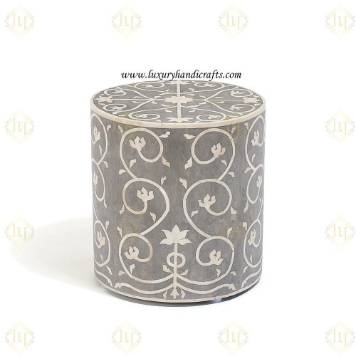 Bone Inlay Stool Bel Grey