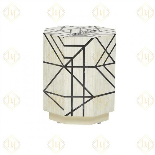 Full Bone Inlay Geometric Side Table Metal Legs Black