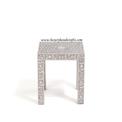 Grey Bone Inlay Floral Side Table