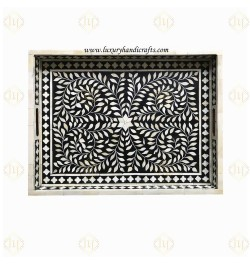 Black Bone Inlaid Rectangular Tray