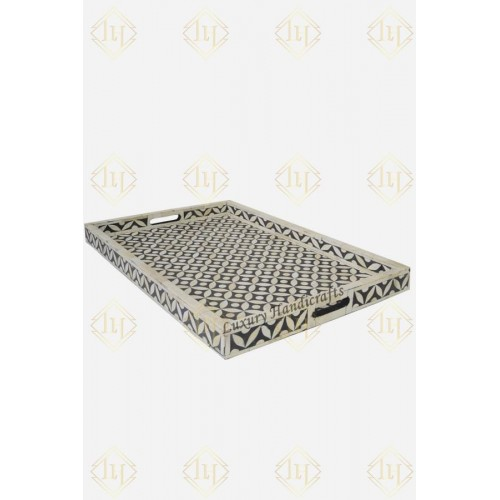 Black Bone Inlay Tray In Geometric Design Black