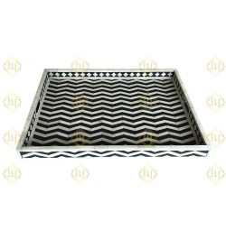 Rectangle Chevron Pattern Bone Inlay Tray