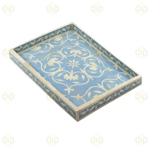 Bone Inlay Flower Tray Sky Blue