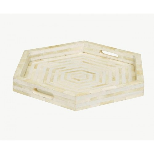 Bone Inlay Tray Stripe Hexagon Shape Ivory White