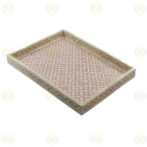 Foulard Pink Bone Inlay Tray In Geometric Design