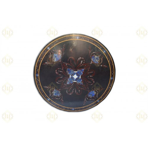 Black Granite Dining Table Top With Gemstones Inlay