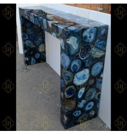 Blue Agate Gemstone Geode Console Table