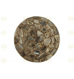 Brown Agate Gemstone Round Side Table Brass Stand