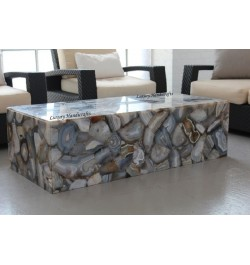 Buy Online Grey Agate Geode Rectangle Coffee Table