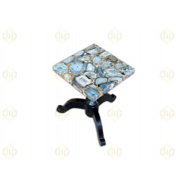 Grey Agate Geode Square Side Table
