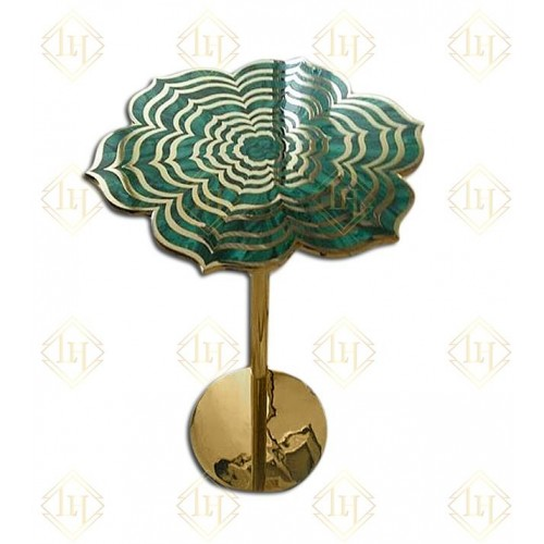Malachite Flower Accent Table In Brass