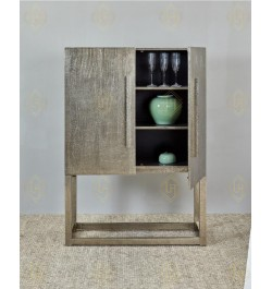German Silver Hammered Bar Cabinet