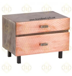 German Silver Metal Bedside Tables