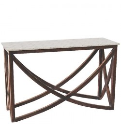 Marble And Brass Inlay Console - White