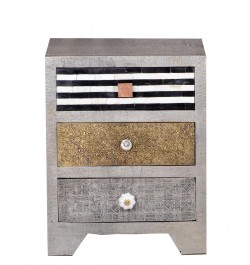 Three Drawer Small Bedside Chest of Metal Brass Bone