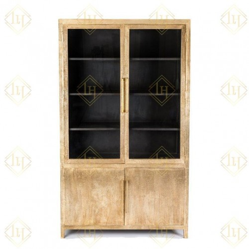 Embossed Brass and Glass Cabinet Antique Finish