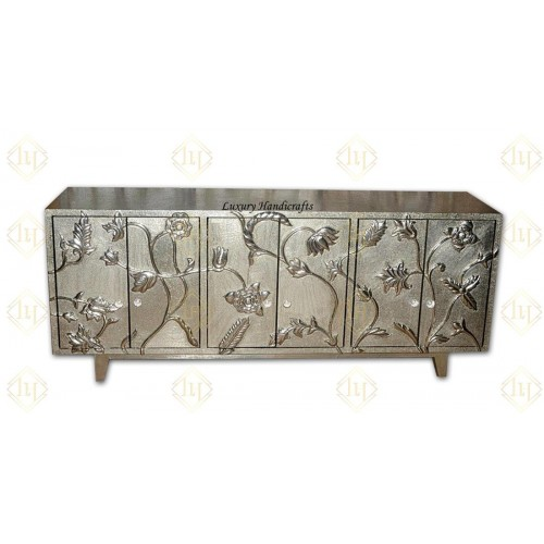 White Metal Flower Carved Buffet