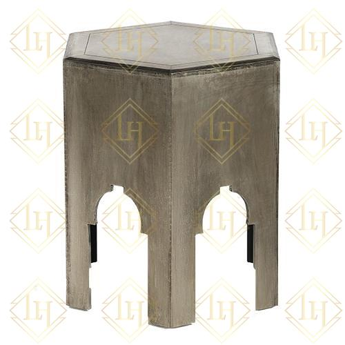 Anatole White Metal Side Table - Antique White Metal