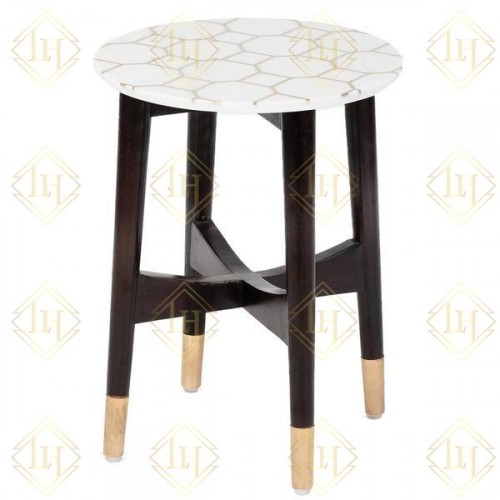 Brass Inlay Marble Side Table - White