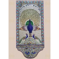 Glass Inlay Large Thikri Work Panel Of Peacock Design