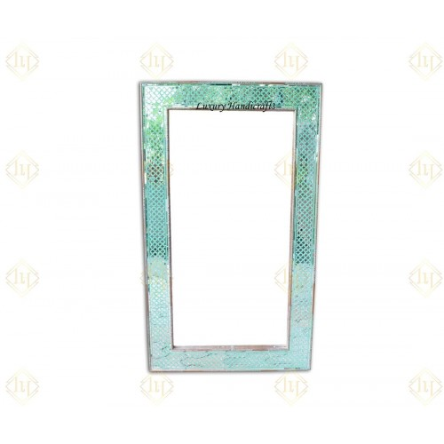 Thikri Glass Inlay Mirror Green With Brass Work