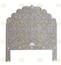 Floral Mother Of Pearl Inlay Headboard In Grey