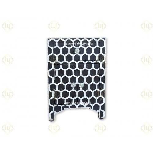 Black Mother Of Pearl Inlay Nightstand Honeycomb Bedside