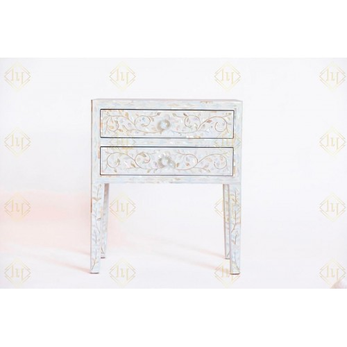 Mother Of Pearl 2 Drawer Bedside Table Long Leg White
