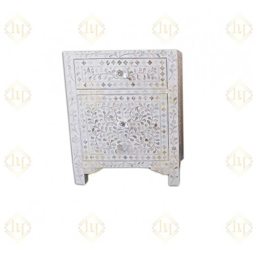 Mother Of Pearl Floral Inlay Large Drawer Bedside White