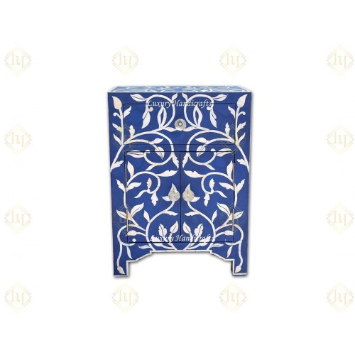 Mother Of Pearl Inlay 1 Drawer 2 Door Lily Design Bedside Dark Blue