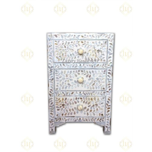 Mother Of Pearl Inlay 3 Drawer Bedside White