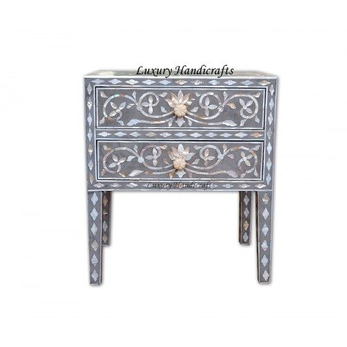 Mother Of Pearl Inlay Bedside 2 Drawer Lotus Design Grey